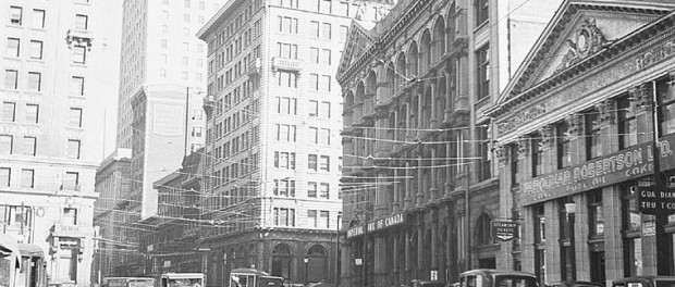 More details Saint-Jacques street with the Royal Bank building (the tallest), 1935