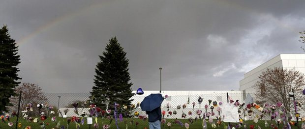 A rainbow shown over Prince's home hours after his death. AP.
