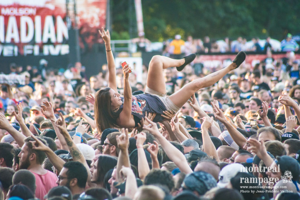 Crowd surfing at Heavy Montreal (Photo by Jean-Frederic Vachon)