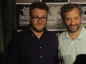 Seth Rogen and Judd Apatow at the Sausage Party premiere.