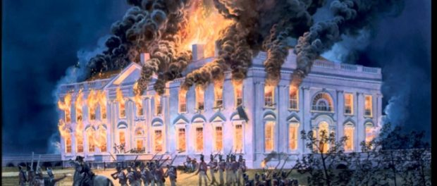 Artistic depiction of the Burning of the White House.