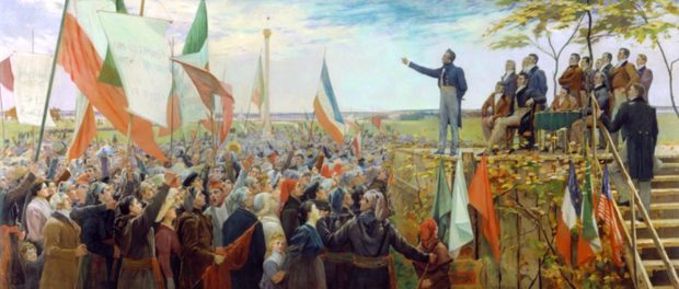 Papineau speaking to the masses of followers in 1837. Artistic depiction by Charles Alexander Smith, c. 1890. Credit: Musée national des beaux-arts du Québec/Wikimedia Commons.