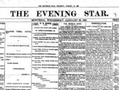 "Front page of ""The Evening Star"", January 1869. Photo courtesy of Wikimedia Commons."