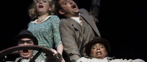 39 Steps. Top L to R: Amelia Sargisson and Andrew Shaver; Bottom L to R: Trent Pardy and Lucinda Davis. Photo Andrée Lanthier