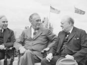 Canadian Prime Minister Mackenzie King, with President Franklin D Roosevelt, and Winston Churchill during the Quebec Conference, 18 August 1943. Credit: Imperial War Museum, catalogue number: H 32129