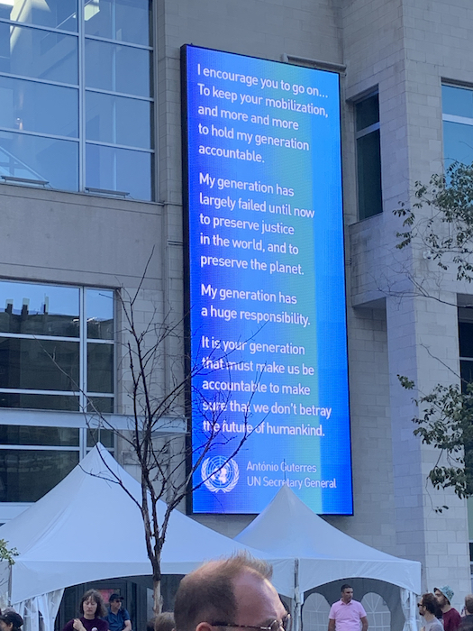 Message from UN. Climate Strike. Photo Rachel Levine