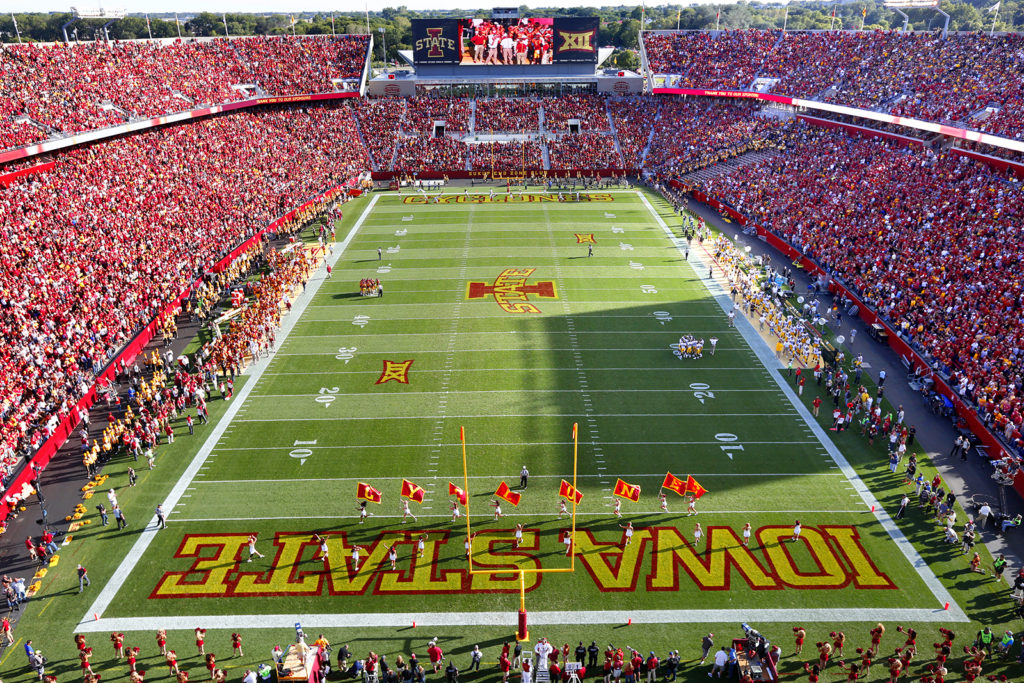 Jack trice Stadium is packed to 61,500 for Iowa State's game against Iowa on Sept 12, 2015. (Photo by Christopher Gannon/Iowa State University)