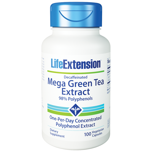 Life Extension Decaff Mega Green Tea 100 Cap bottle