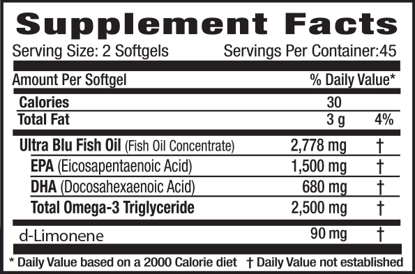 OmegaBlu Supplement Facts