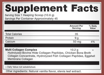 Dr Axe Multi Collagen Vanilla Supp Facts
