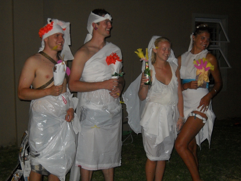 """I just Googled """"garbage bag toga"""". This is apparently a thing? #WhoWoreItBetter? The guy in Herald Square."""