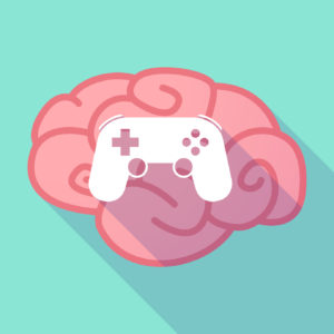 Illustration of a long shadow brain with  a game pad