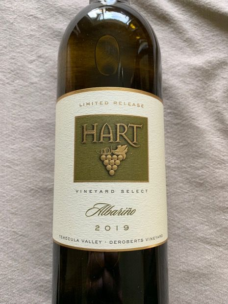 2019 Albarino, Temecula Valley - New Release. Hart Winery California