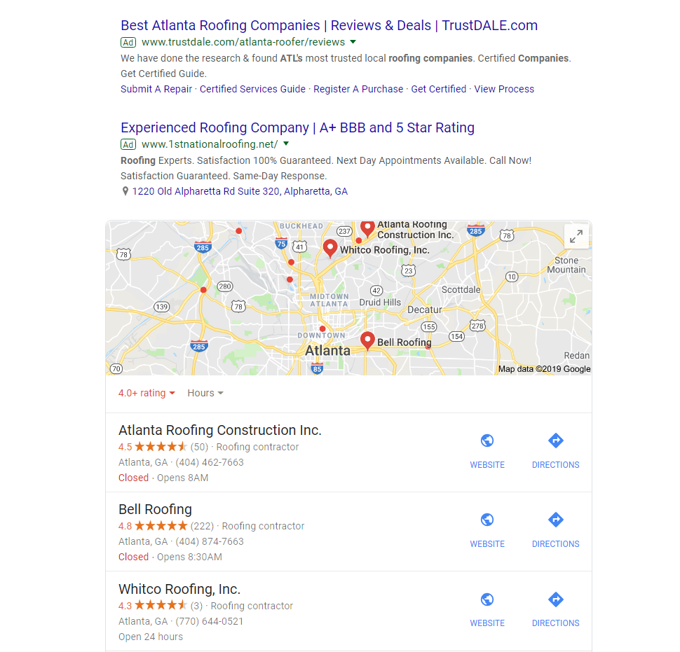 Google search- best roofing companies in Atlanta