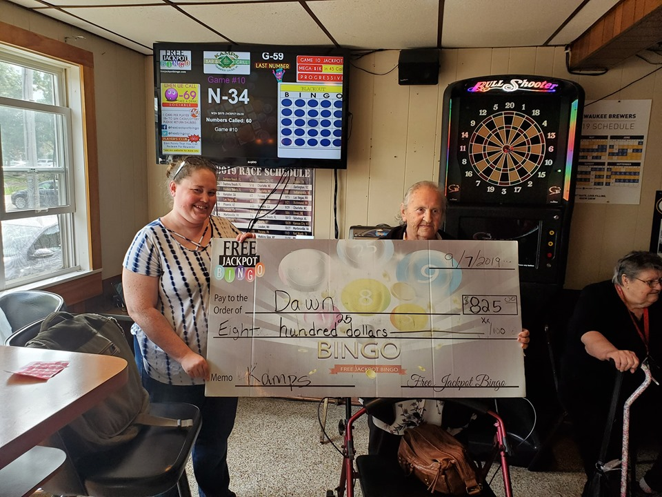 Bingo Jackpot Winner at Kamps in Combined Locks on 9-7-19