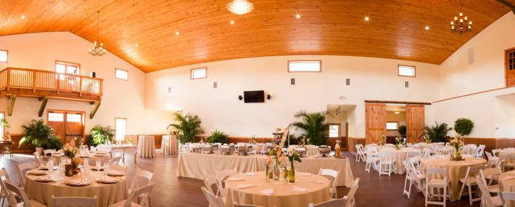 The main room in C Bar Ranch's purpose-built event barn.