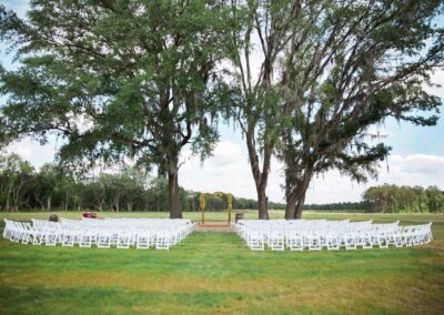 Benches or chairs can be used at this ceremony site, one of five at C Bar Ranch.
