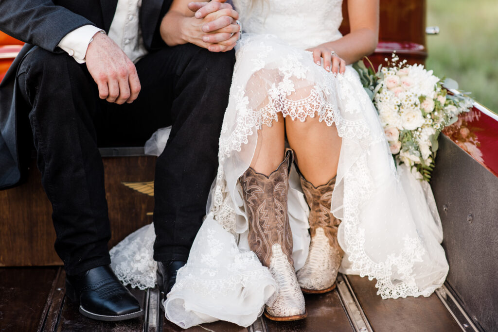C Bar Ranch brides wear everything from glittery stilletos and bespangled tennies, to cowboy boots with glam detailing, like these shot by AmberDornPhotography.com.