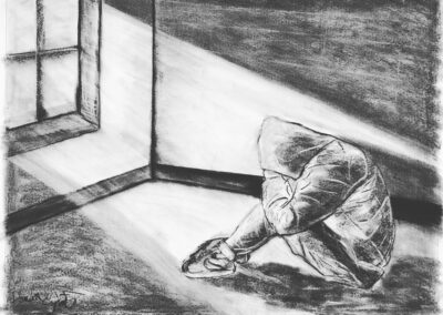 Searching, charcoal on paper, 30 x 40 in.