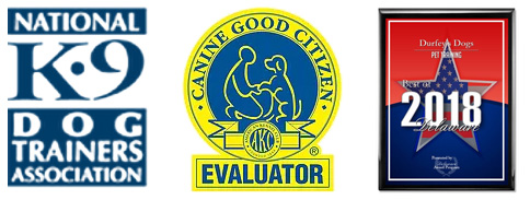 Icons for The National Dog Trainers Association; AKC Canine Good Citizen Evaluator; and Best Delaware Dog Trainer in 2018.