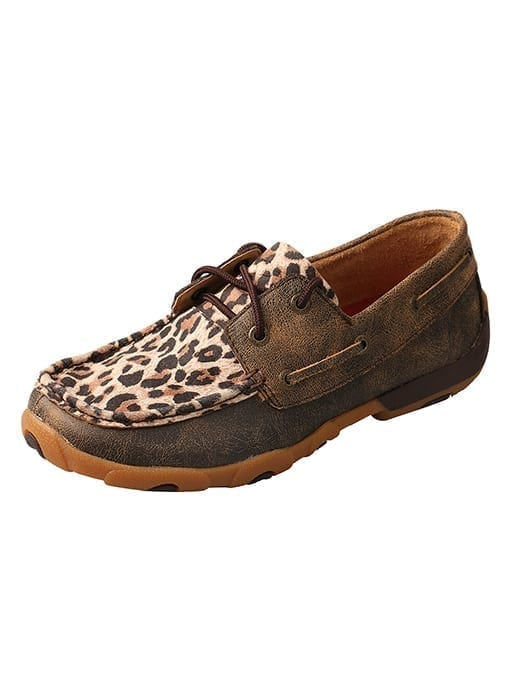 Twisted X Women's Driving Moc Boat Shoe - Distressed-Leopard - WDM0057 - Side