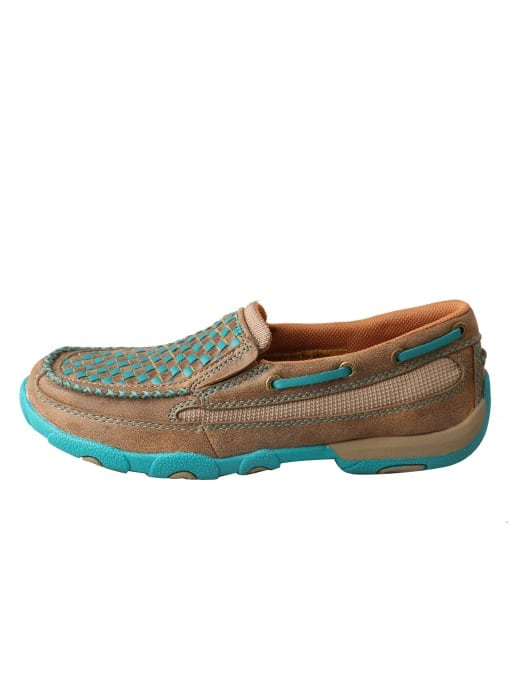 Twisted X Women's Driving Moc Slip On - Bomber-turquoise - WDMS006 - Left