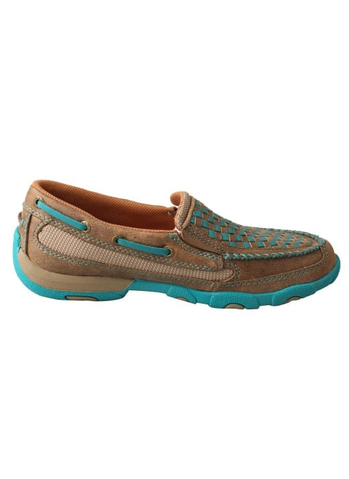 Twisted X Women's Driving Moc Slip On - Bomber-turquoise - WDMS006 - Right