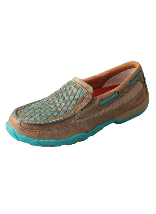 Twisted X Women's Driving Moc Slip On - Bomber-turquoise - WDMS006 - Side