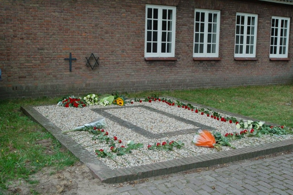 Fresh flowers on the Crematorium Ash Pits at camp Vught