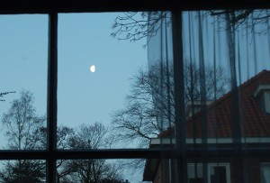 Saturday moonset from living room