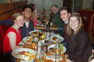 "L.R. Ariel, Jonathan, Euan, Corrine at ""Braque"" on the Albert Cuypstraat"
