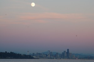 Moon rise over Seattle