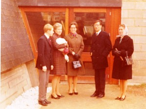 L.R. Claude, Joan with Rose Marie, Colette, Jack, Mme. Claeys at Baptismal Feb 1968 St. Pie-X Forest (Bruxelles)