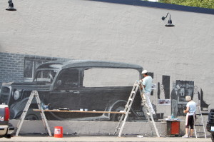Monday progress on the Finholm mural