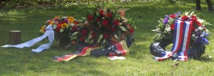 The American wreath next to the German one.