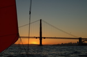 Under storm jib through the Golden Gate
