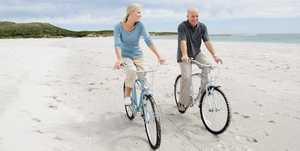 A couple riding bicycles, links to resources page