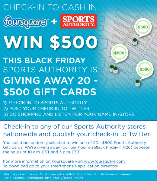Thank you Foursquare and Sports Authority for the $500!