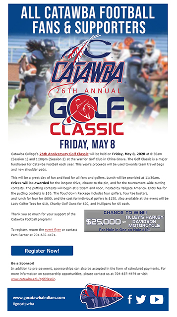 Email for Catawba College Golf Classic Fundraiser