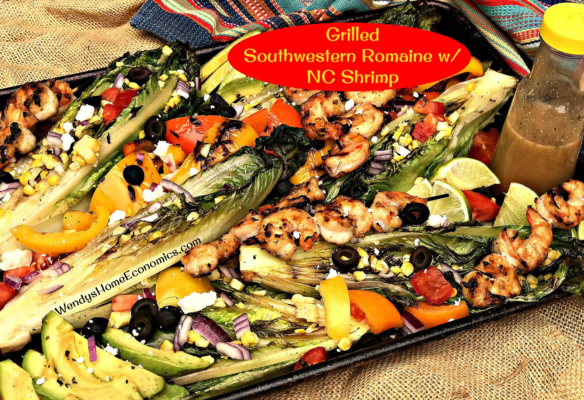 Grilled Southwestern Romaine with North Carolina Shrimp
