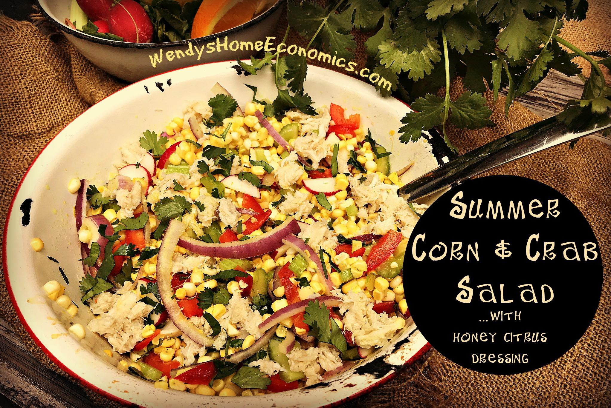 Summer Corn & Crab Salad with Honey Citrus Dressing
