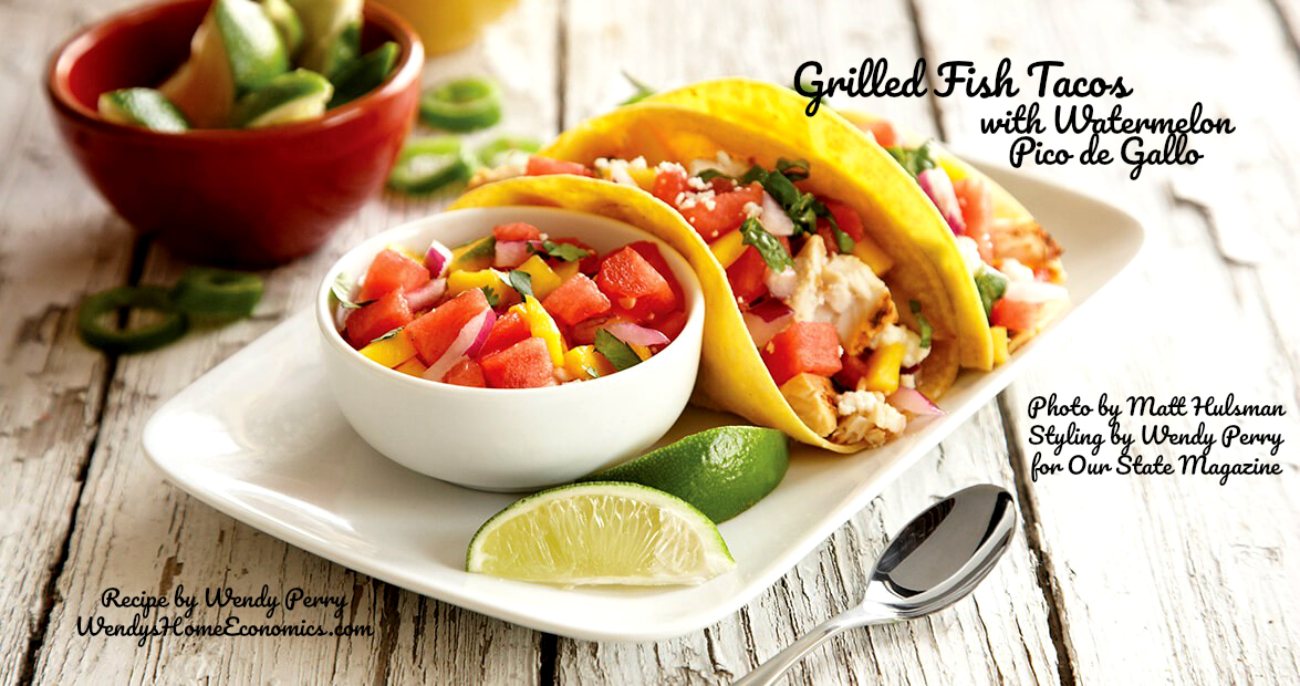 Grilled Fish Tacos with Watermelon Pico de Gallo