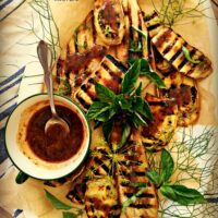 Grilled Eggplant with Blueberry Vinaigrette & Stone Ground Mustard