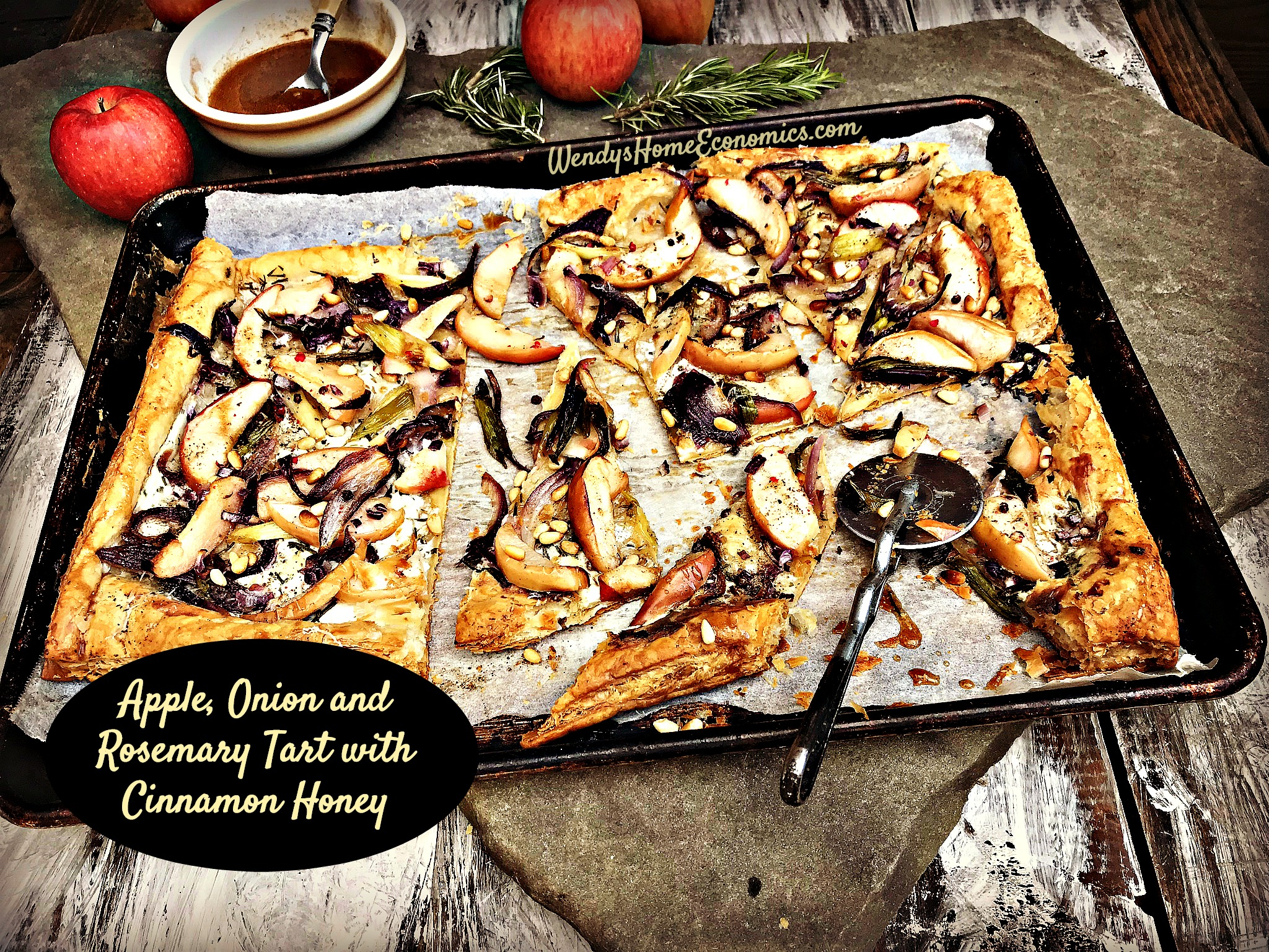 Apple, Onions & Rosemary Tart