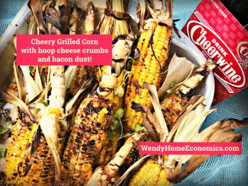 Cheery Grilled Corn with Hoop Cheese & Bacon Dust