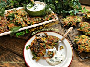 Peas and Carrot Fritters With lemon-dill yogurt tzatziki