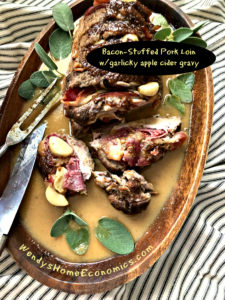 Maple Bacon Stuffed Pork Loin with Garlicky Apple Cider Gravy