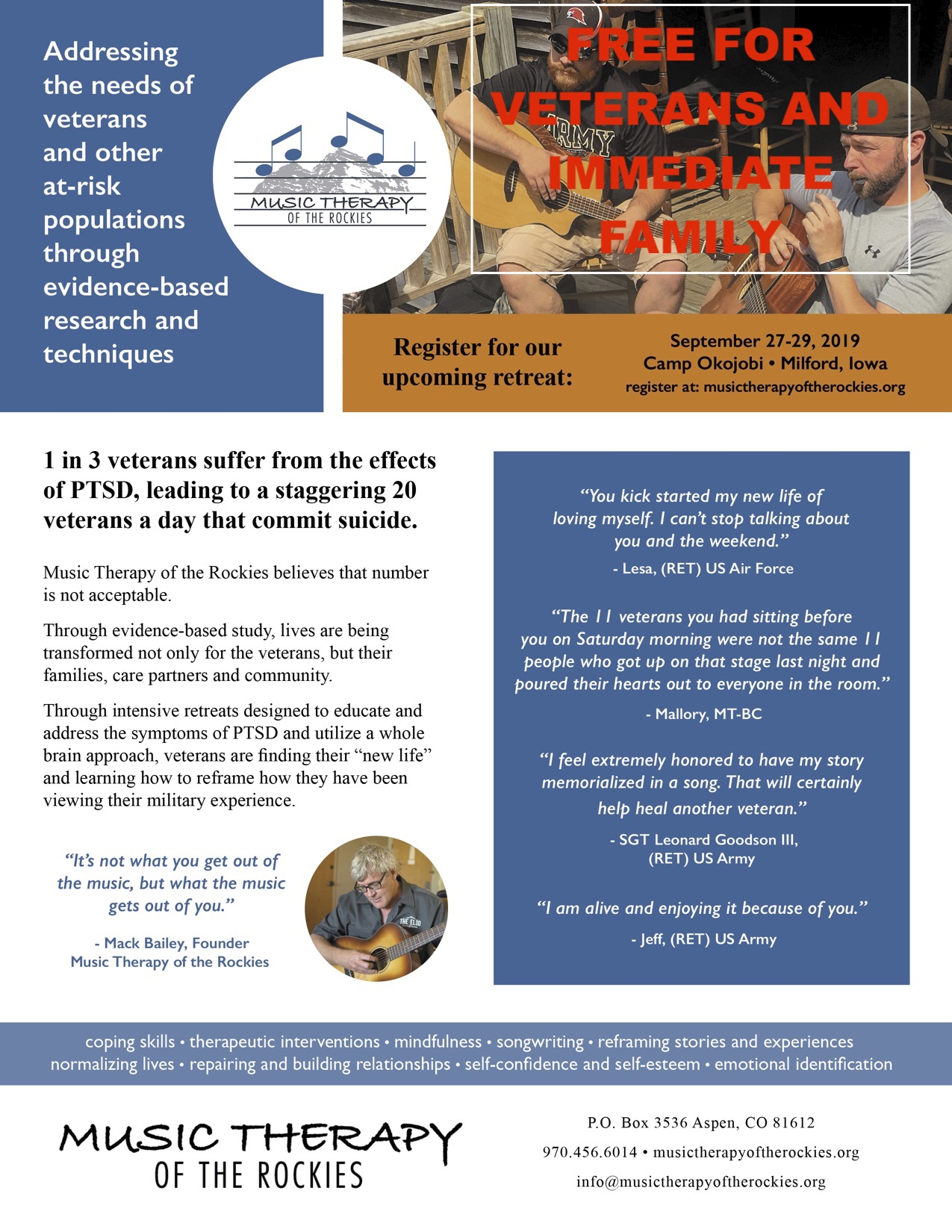 Music Therapy of the Rockies, Camp Okojobi, Milfor, Iowa, September 27-29, 2019
