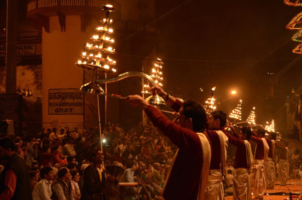 Hindu priest performing religious Ganga Aarti