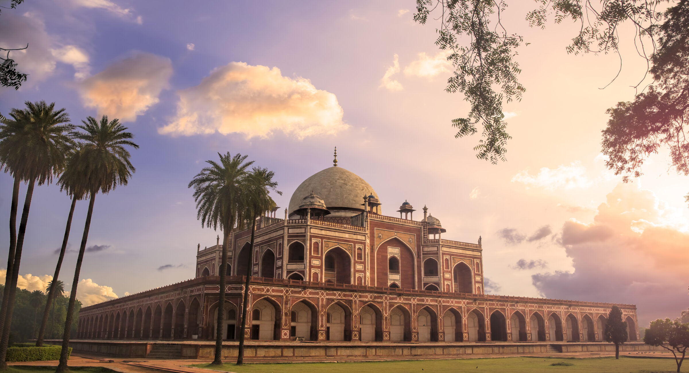 View of Humayun's Tomb at Sunrise. Humayun's Tomb is fine example of Great Mughal architecture, UNESCO World Heritage, Delhi, India.